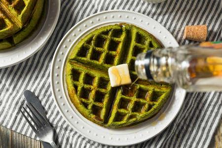 Homemade Green Tea Matcha Waffles Ready to Eat