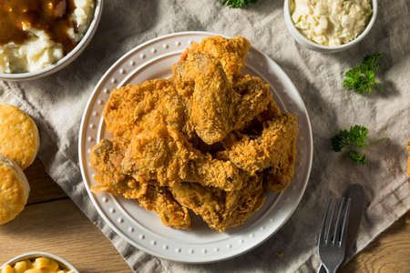 Homemade Southern Fried Chicken Dinner with Sides