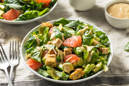 Organic Vegan Asian Tofu Salad with Avocado and Grapefruit