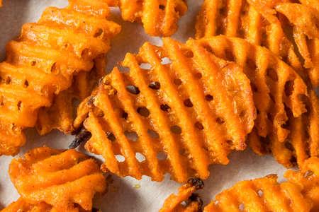 Homemade Sweet Potatoe Waffle Fries with Mayo Stock fotó