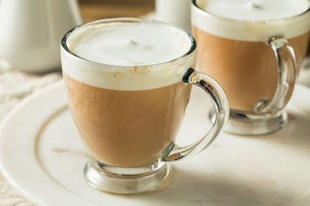 Hot London Fog Tea Drink with Foamed Milk Archivio Fotografico
