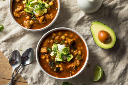 Homemade Mexican Pozole Soup with Chicken and Avocado