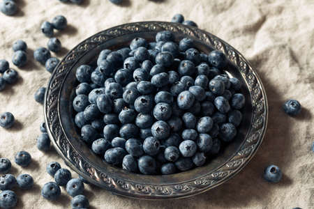 Raw Blue Organic Blueberries in a Bowl Banque d'images