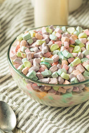 Sugary Sweet Marshmallow Only Cereal in a Bowl with Milk for Breakfast