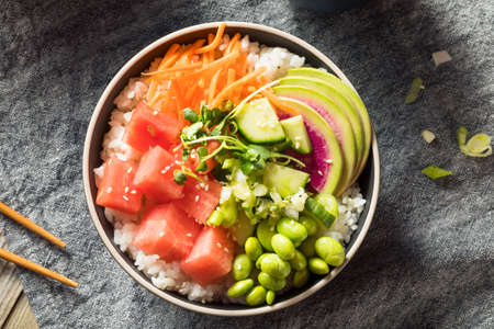 Homemade Vegan Poke Bowl with Rice and Watermelon