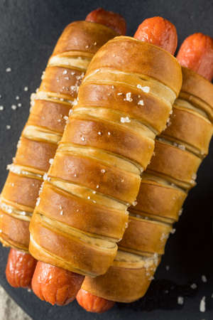Homemade Pretzel Wrapped Hot Dog with Ground Mustard