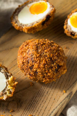 Homemade English Scotch Eggs Wrapped in Sausage Stock fotó