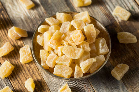 Organic Sweet Candied Ginger Treats in a Bowl