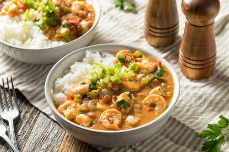 Spicy Homemade Cajun Shrimp Etouffee with White Rice