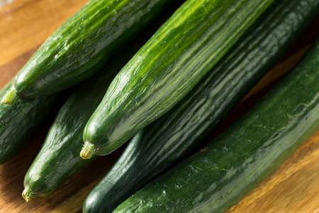 Raw Green Organic English Cucumbers Ready to Eat 免版税图像