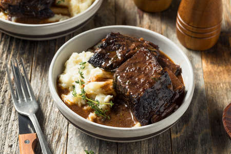 Homemade Braised Beef Short Ribs with Gravy and Potatoes