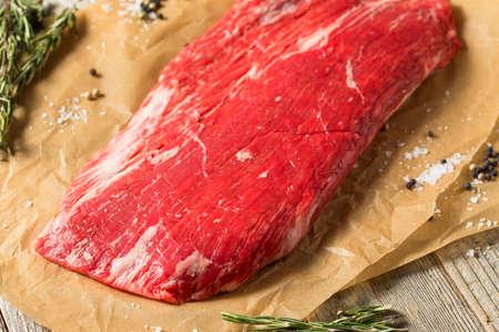 Raw Grass Fed Flank Steak Ready to Season