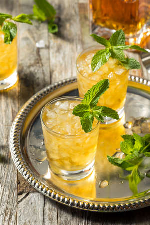 Homemade Kentucky Bourbon Mint Julep in a Glass Reklamní fotografie
