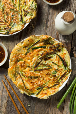 Homemade Korean Pajeon Scallion Pancakes with Dipping Sauce Reklamní fotografie