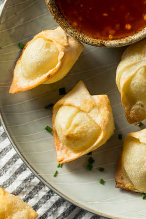 Chinese Cream Cheese Wontons with Sweet and Sour Sauce