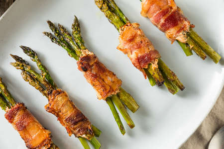 Homemade Bacon Wrapped Asparagus Ready to Eat Stock Photo