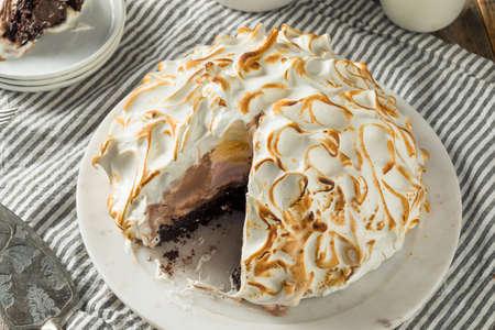 Homemade Toasted Baked Alaska with Chocolate Berry Vanilla Ice Cream 版權商用圖片
