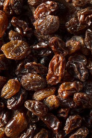 Organic Dried Brown Raisins in a Bowl
