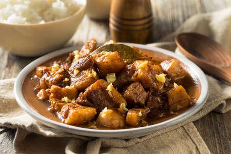 Homemade Filipino Adobo Pork with White Rice