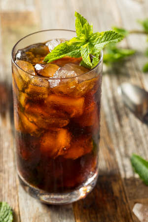 Homemade Sweet Mint Iced Coffee in a Glass 스톡 콘텐츠