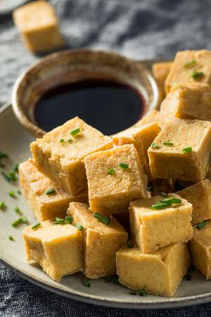 Homemade Asian Fried Tofu Cubes with Soy Sauce Stock fotó