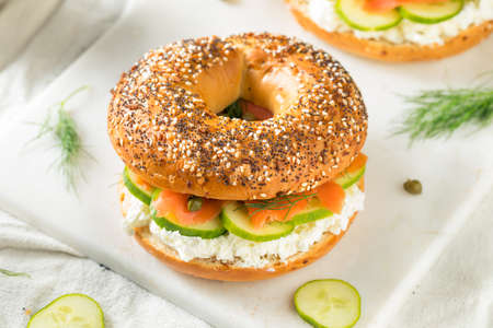 Homemade Salmon Lox Sandwich with Cream Cheese and Capers