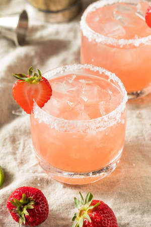 Homemade Red Strawberry Margarita with Ice and Salt
