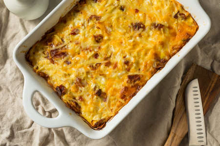 Homemade Bacon Amish Breakfast Casserole in a Dish