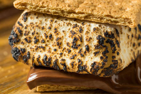 Homemade Gooey Smores Sandwiches with Chocolate and Marshmallows Фото со стока