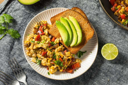 Homemade Organic Southwestern Egg Scramble with Toast