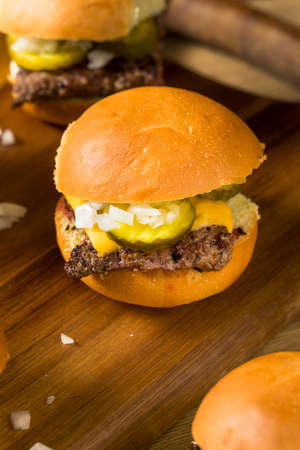 Homemade Beef Cheeseburger Sliders with Onion and Tomato Stock Photo