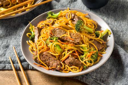 Hausgemachte Beef Lo Mein Nudeln mit Karotten und Brokkoli