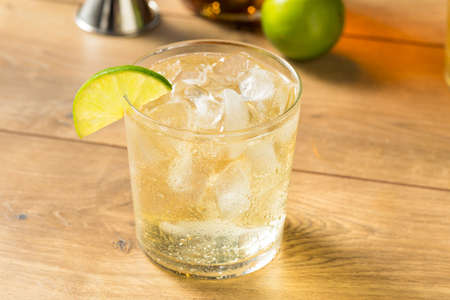 Homemade Rum and Tonic Cocktail with Lime Standard-Bild - 129457687