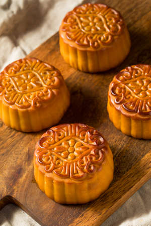 Homemade Chinese Moon Cakes with a Yolk Filling