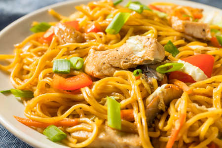 Homemade Japanese Chicken Yakisoba Noodles with Vegetables Stock fotó