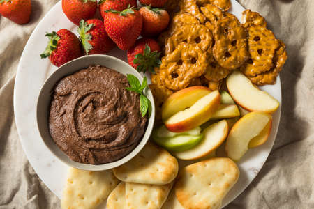 Homemade Chocolate Dessert Hummus Dip with Apples and Naan
