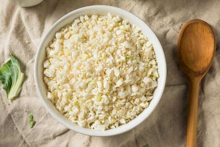 Homemade Organic Raw Cauliflower Rice in a Bowl
