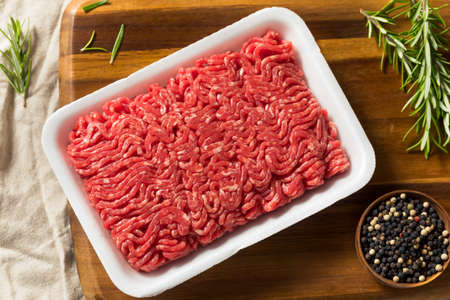 Raw Organic Red Ground Minced Beef Ready to Cook