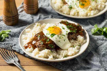 Homemade Hawaiian Loco Moco with Hamburger and Rice