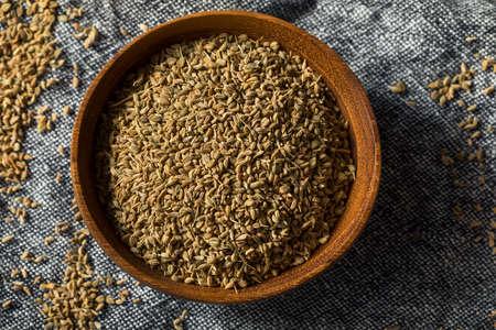 Raw Brown Organic  Ajwain Seed in a Bowl Archivio Fotografico - 133208345