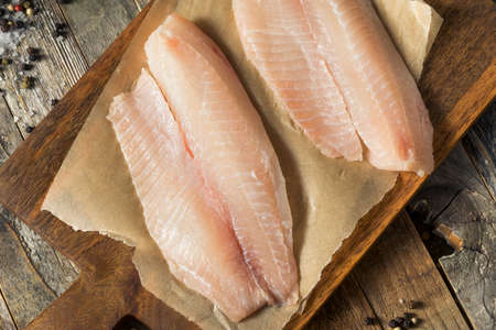 Roher weißer Bio Tilapia Fisch kochfertig Standard-Bild