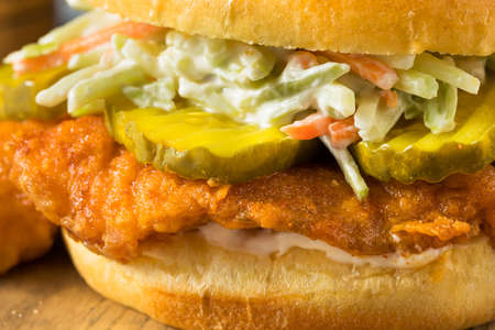 Homemade Nashville Hot Fish Sandwich with Chips