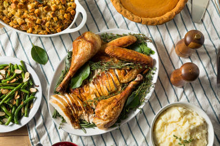 Homemade Thanksgiving Cut Up Turkey Platter with All the Sides