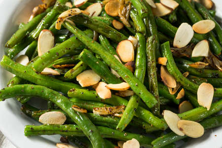 Homemade Sauteed Green Beans with Almonds for Thanksgiving Stok Fotoğraf