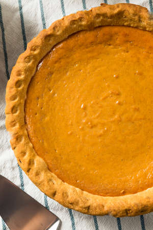Homemade Thanksgiving Pumpkin PIe Ready to Eat Stock Photo
