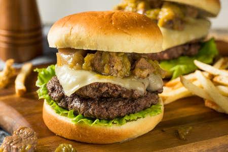 Homemade Colorado Pork Green Chili Hamburger with Cheese Foto de archivo