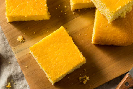 Homemade Cut Up Cornbread Ready to Eat
