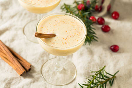 Homemade Eggnog Martini in a Glass for the Holidays