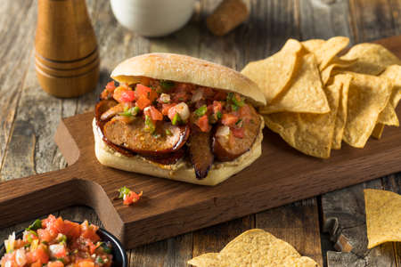 Spicy Homemade Chorizo Sandwich with Salsa and Mayo