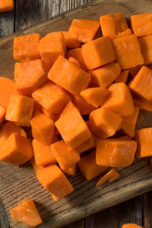 Raw Orange Organic Sweet Potatoes Cut into Cubes